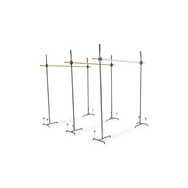 Brutalist Hollywood Regency Bespoke Clothing Rack in Wrought Iron and Brass For Sale - Image 3 of 10