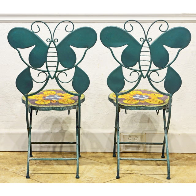 Abstract Unique Painted Iron and Inlaid Ceramic Mosaic Butterfly Chairs - a Pair For Sale - Image 3 of 13