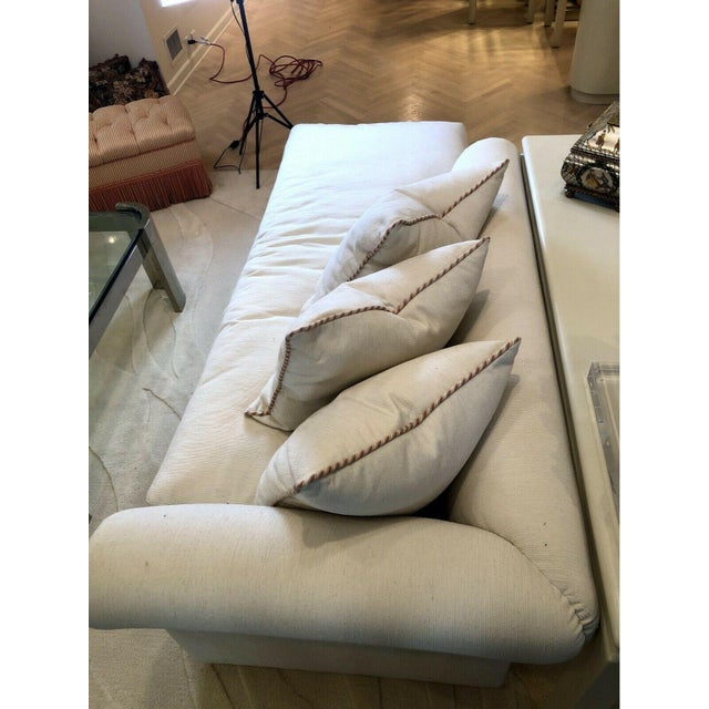 Custom Fainting Couch With Left Arm Rest and Textured Fabric For Sale - Image 4 of 12