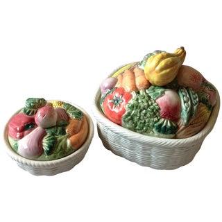 Fitz & Floyd Vegetable Basket Casseroles - A Pair For Sale