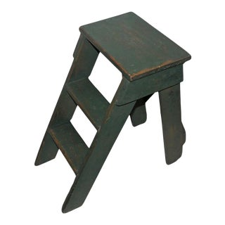19th Century Original Green Painted New England Step Ladder