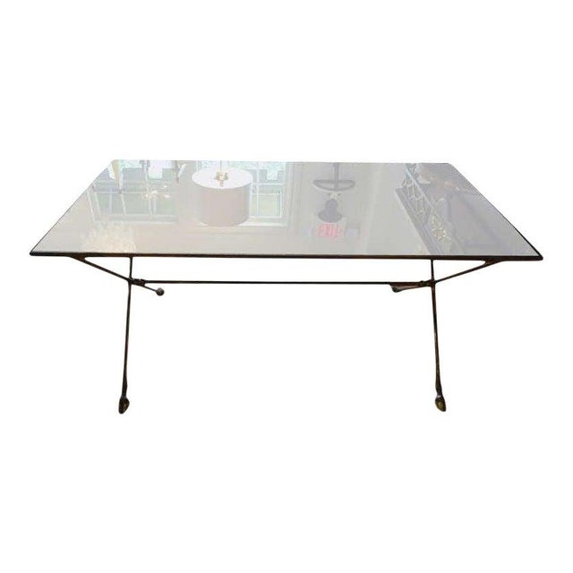 Bronze 1940's Vintage French Maison Bagues Style Bronze and Mirrored Coffee Table For Sale - Image 8 of 10