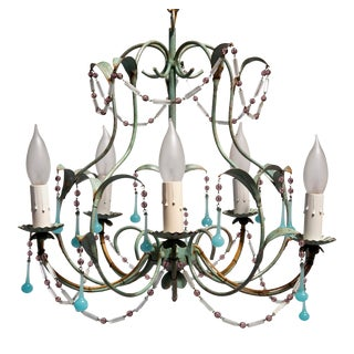 Mid-Century Five Light Metal Light Aqua Chandelier For Sale