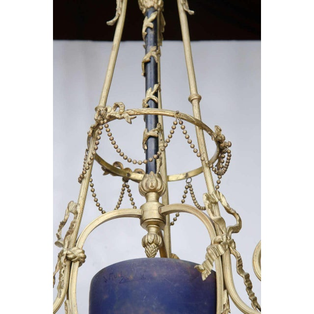 Exquisite Art Deco Bronze and Art Glass Chandelier by Muller Freres For Sale - Image 5 of 9