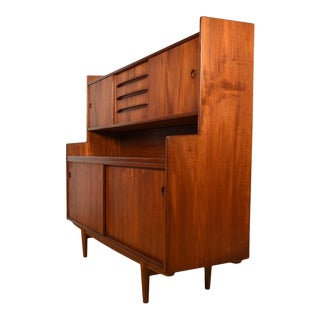 Danish Teak Small Highboard Cabinet with Pull-Out Serving Shelf For Sale