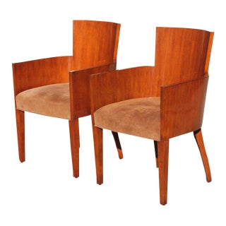 Pair of Solid Mahogany Ralph Lauren Modern Hollywood Armchairs .