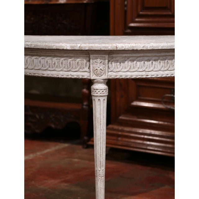 Marble Pair of 19th Century Louis XVI Carved Painted Demi-Lune Console Tables For Sale - Image 7 of 9