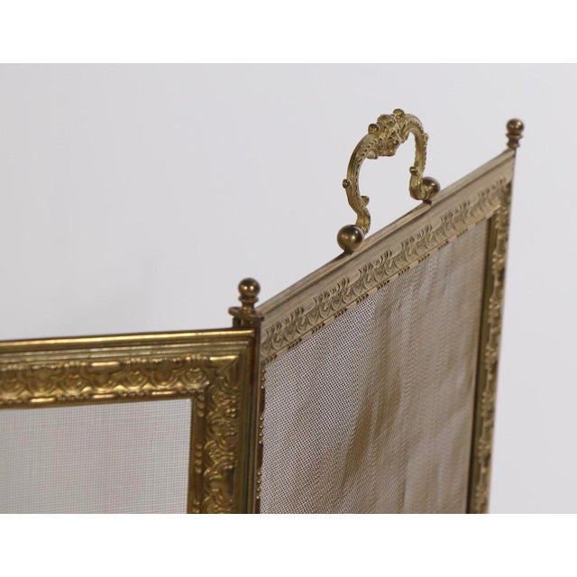 1930s French Folding Fireplace Screen Spark Gard For Sale - Image 5 of 13