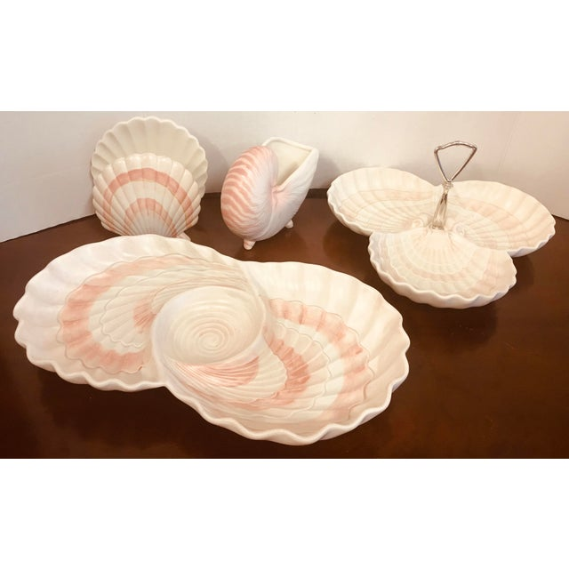 Contemporary Fitz & Floyd Pink Shell Serving Dishes - Set of 4 For Sale - Image 3 of 10
