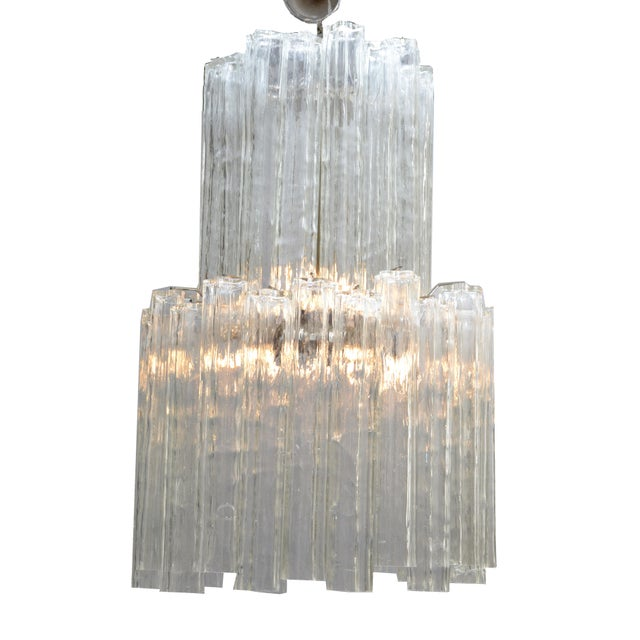 Italian Mid-Century Modern Two Tier Long Crystal Tronchi Shades Chandelier For Sale - Image 9 of 9