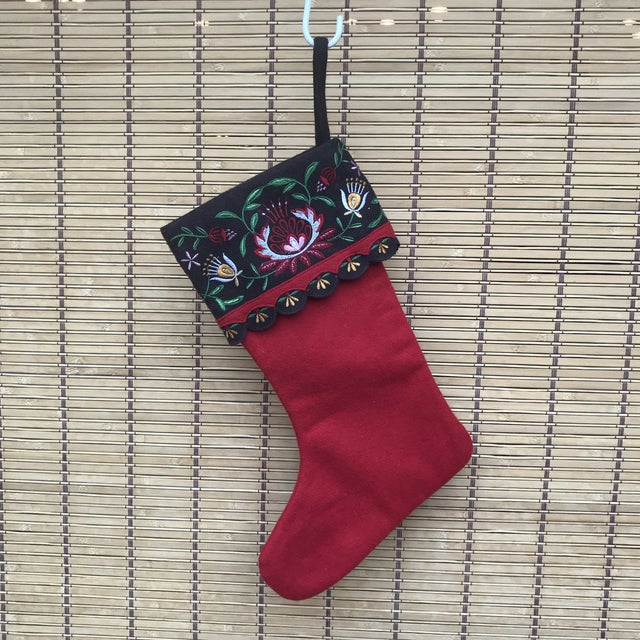 Gorgeous wool Christmas stocking, with embroidered floral design. No makers marks or tags.