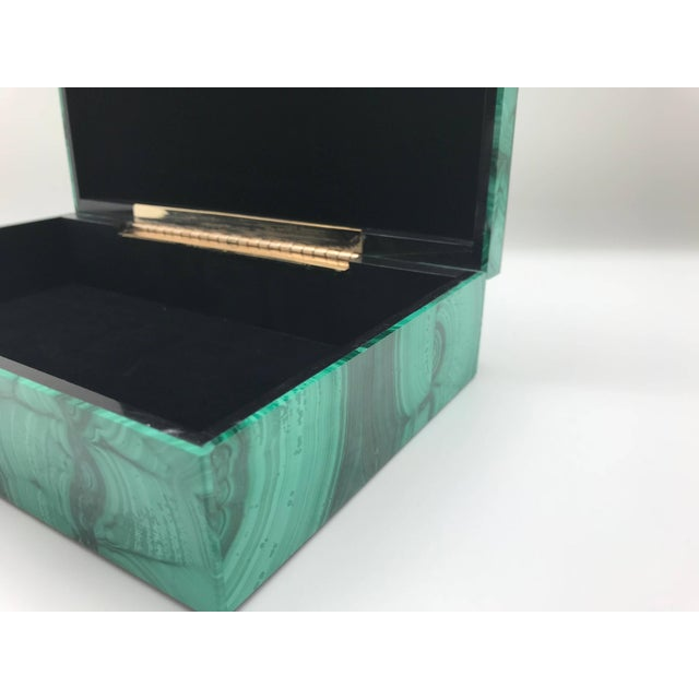 Gemstone Very Large Malachite Box with Hinged Lid For Sale - Image 7 of 10