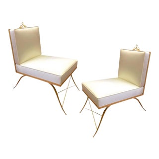Colette Gueden Pair of Superb Refined Slipper Chairs Newly Covered in Silk For Sale