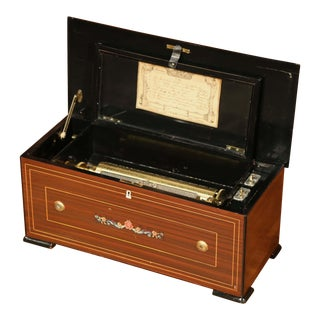 Early 20th Century Swiss Tulipwood Inlaid and Ebonized Zither Cylinder Music Box For Sale