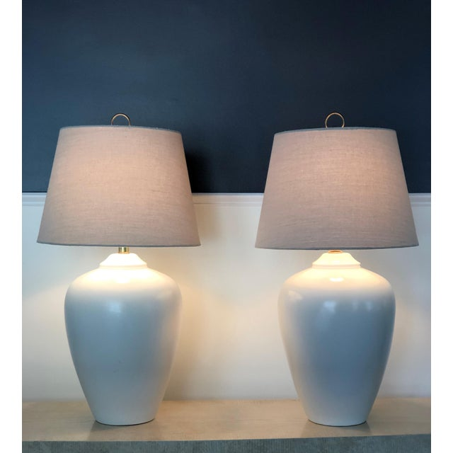 """Beautiful simplistic Modernist Ceramic Lamps. Form and function. Mar-Kel. 18"""" to base of socket Shades for staging purpose..."""