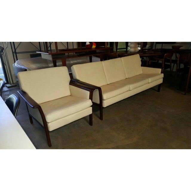 Hans olsen denmark beautiful original 1960s vintage danish white leather three seat sofa & brazilian rosewood frame...