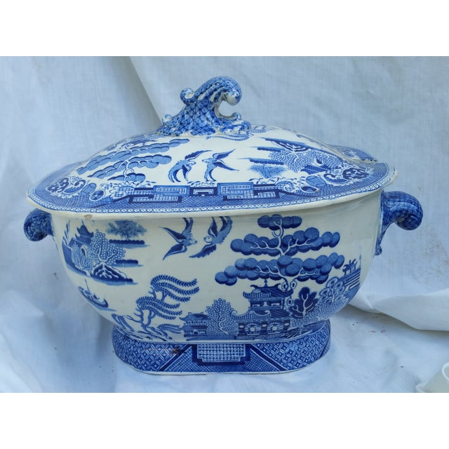 Antique English Victorian Blue & White Soup Tureen - Image 2 of 6