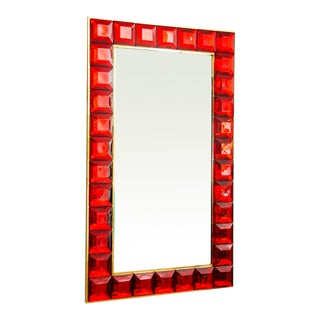 Contemporary Red Diamond Murano Glass Mirror For Sale