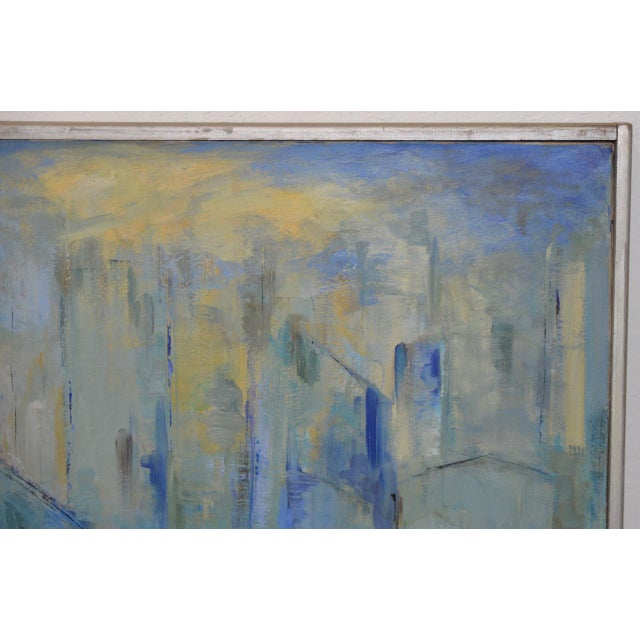 Abstract Mid Century Modern Abstract Cityscape by Mary Carey c.1950s For Sale - Image 3 of 7