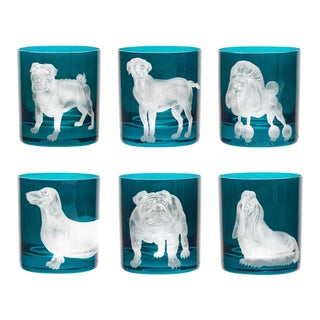 ARTEL Dog Collection Set of Double Old Fashioned Glasses, Peacock, Set of 6 For Sale