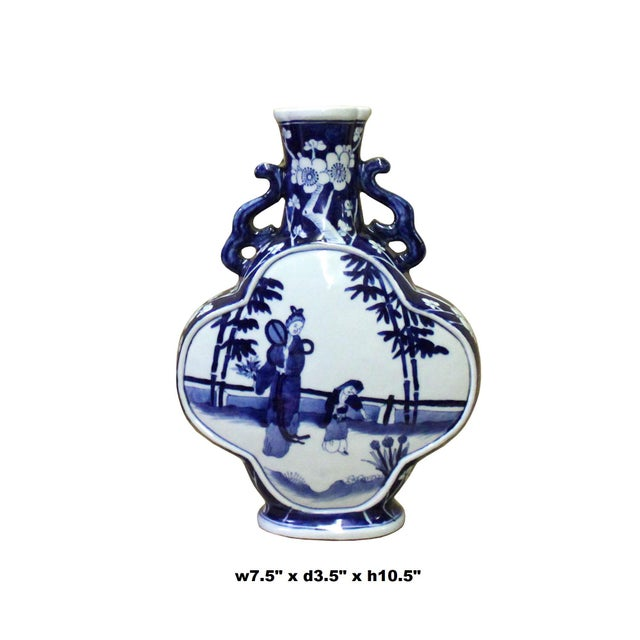 Asian Chinese Blue White Porcelain People Theme Flower Shape Vase For Sale - Image 3 of 7