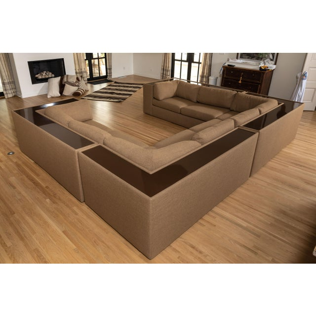 Four-Piece Milo Baughman Sectional Sofa with Original Polymer Shelf Back For Sale - Image 11 of 12