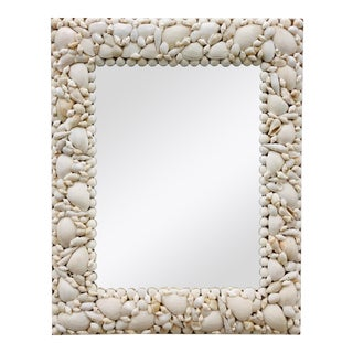 Vintage Hand Crafted Seashell Encrusted Wall Mirror For Sale