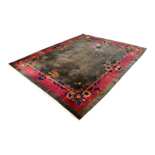 Art Deco Nouveau Nichols Area Rug Rug Red Gray Floral Rectangular For Sale