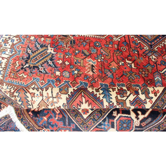 Red 1930s Semi Antique Heriz Rug - 9′3″ × 12′5″ For Sale - Image 8 of 12