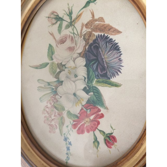 Cottage Vintage Oval Framed Floral Art For Sale - Image 3 of 8