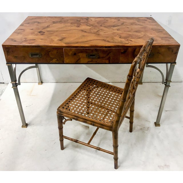 Gold Campaign Style Italian Burlwood Desk and Chair For Sale - Image 8 of 9