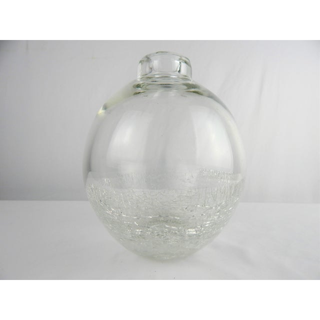 Minimalist contemporary art glass vase with controlled crackle base. No signature.
