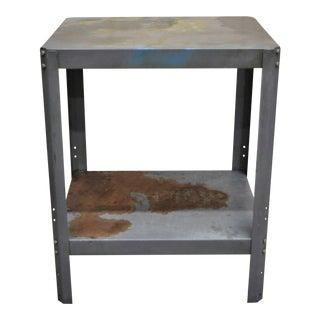 Vintage Mid Century Industrial Steel Metal 2 Tier Work Side Table For Sale