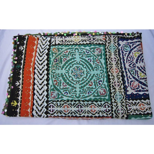 Vintage piecework throw with brightly colored applique. I believe it's from Thailand, but don't know for certain....
