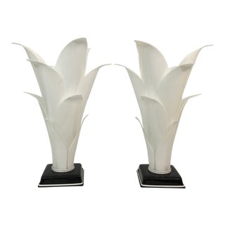 Rougier Palm Leaf Lucite Lamps- a Pair For Sale