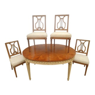 Mid-Century French Provincial Table & Harp Chairs