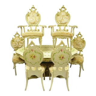 Italian Baroque Rococo John Turano & Sons Silik Style Dining Room Set - 7 Pieces For Sale