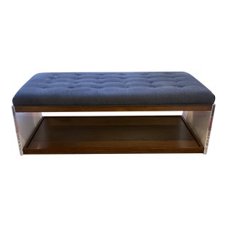 Sunrise Home Contemporary Custom Suede + Acrylic Cocktail Ottoman/Bench For Sale