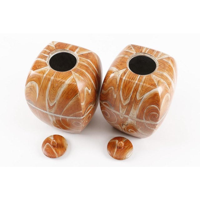 Pair of whimsical Chinese Faux-Bois Lidded Jars With Apocryphal Yongzheng Reign Marks but of the late Qing to early...