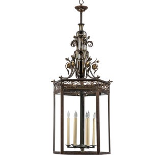 Very Large Patinated Bronze and Parcel-Gilt Lantern