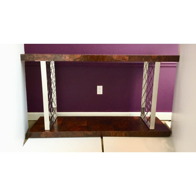 Modern Art Deco style Universal Co. burl wood and nickel console table, prototype