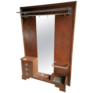 European Art Deco Hall Tree Mirror & Coat Rack For Sale