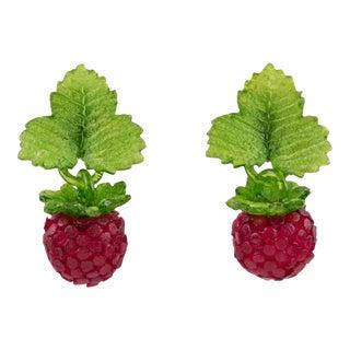 Monique Vedie Line Vautrin Student Resin Raspberry Clip Earrings For Sale