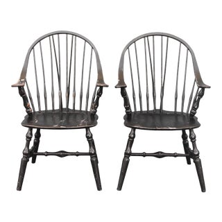Pair Vintage Early American Shabby Chic Windsor Chairs For Sale