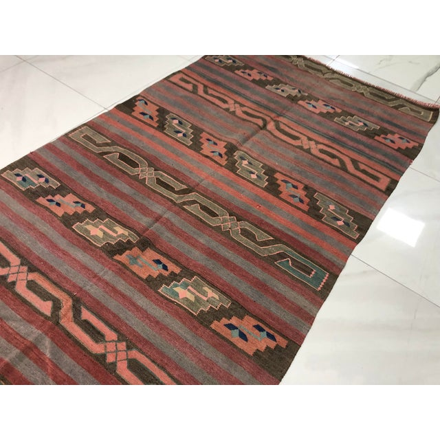 Red Turkish Tribal Handmade Kilim Rug - 4′ × 8′1″ For Sale - Image 8 of 11