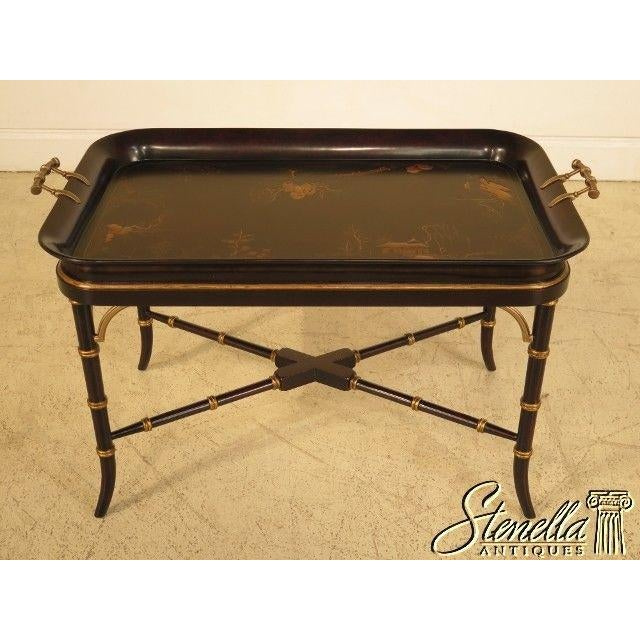 Item: THEODORE ALEXANDER #1102-189 Chinoiserie Decorated Coffee Table Age: Approx. 5 Years Old Details: Nice Dish Tray Top...