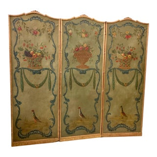 1950s Hand Painted French Gilt Framed Screen For Sale