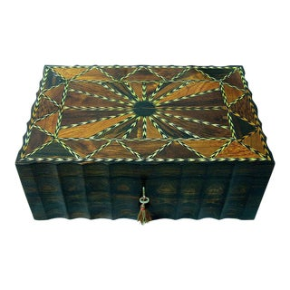 19c Anglo Ceylonese Coromandel Stationary Box With Specimen Woods For Sale