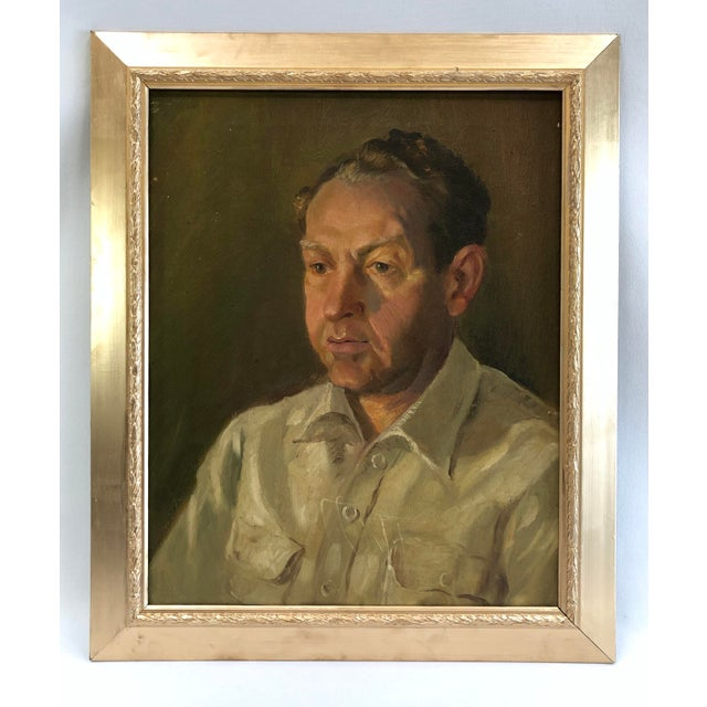 1940s Vintage Portrait of a Man in White Shirt Oil on Canvas Painting For Sale - Image 12 of 12