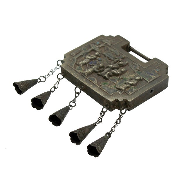 Asian Chinese Ancient Metal Lucky Ping an Lock - Protective Talisman Necklace For Sale - Image 3 of 6